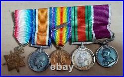 1914 Star Trio WW2 & LSGC UK Full & Mini Size Medal Group 1st Dragoon Guards