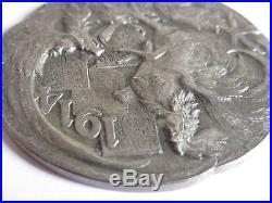1914 World War 1 French Germany Propaganda Medal 900 Silver Signed Huguenin WW 1