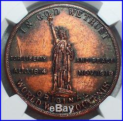 1918 NGC MS 61 RB WW1 World War 1 PEACE Medal Token HK-899 RARE RED BROWN SC $1
