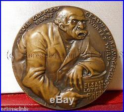 1918 Paris France Germany Rare Splendid Goetz Art Medal Ww1 Clemenceau The Beast