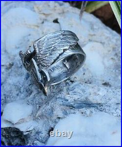 1946 WW2 US Navy PILOT PIN COIN Ring Silver Medal Officer Combat Trench Art