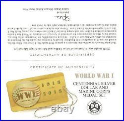 2018 World War I Centennial SILVER Dollar and Marine Corps Medal Set (18CN)