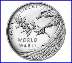 2020 END OF WORLD WAR II 75th ANNIVERSARY AMERICAN EAGLE SILVER MEDAL OGP