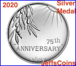 2020 P End of World War 2, II 75th Anniversary 1oz Silver Medal Eagle NGC PF70