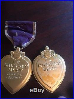3 WWII WW2 Military U. S. Purple Heart Medal Grouping Engraved & named LOT