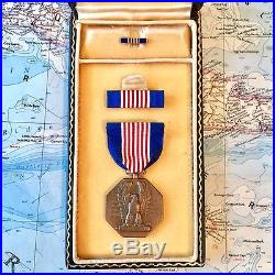 #5722 Wwii Us Army Soldiers Medal For Valor Ribbon Bar Lapel Case Numbered Ww2