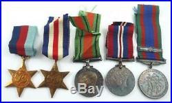 5 WW II Canadian Medals & Ribbons & Original Box, Photos, Pay Book & Cap Badge