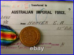 AUST VICTORY MEDAL WW1 PTE HUNTER E A 29th & 32nd Bn's AIF