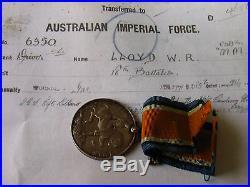 AUST WAR MEDAL WW1 6350 DVR LLOYD W R 18th BN AIF (BROKEN GROUP)