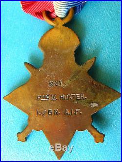 AUST WAR MEDAL WW1 SGT HUNTER E 2nd A. G. E. FORCE 14 Bn AIF (MEF Broken Group)