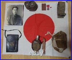 Antique Japanese WW2 world war II Soldier Set Medal Photo Belt Water Bottle +++