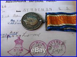 Aust War Medal Ww1 & Ww2 War Medal 7046 Pte Strachan G S