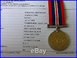 Aust War Medal Ww1 & Ww2 War Medal 7046 Pte Strachan G S & Lt Colonel Ww2