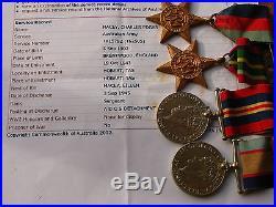 Australia Ww2 Sgt Tx15792 (t62505) Macey Charles Edgar Adcs Detachment Medals