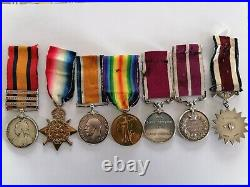Boer War & WW1 Medal Set 7 awarded to W Collins T3444 T-13444 Rare Set A. S. C