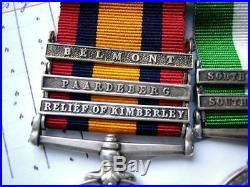 Boer war & WW1 medals KSA QSA Belmont Paardeberg Relief Kimberley Sgt Smith RAMC
