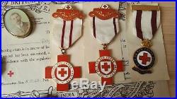 British WW1 Medal Trio British Red Cross Medals & Ephemera + Badges Same Family