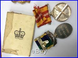 Efficiency Medal T & A. V. R. Suspender RAMC + WW2 BURMA group + Red Cross LSGC