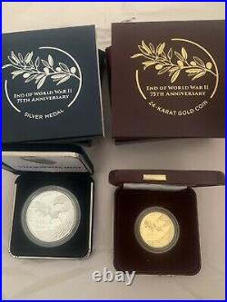 End of World War II 75th Anniversary 24-Karat Gold Coin & Silver Medal On Hand