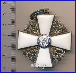 FINLAND Finish WW II 2 COMMANDER Order WHITE ROSE Neck CROSS badge SILVER medal