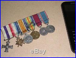 First World War British Officer's Gallantry Miniature MC & MiD Medal Bar Group