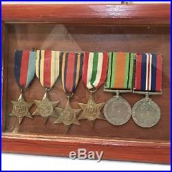 Framed WW2 Medal Group With Photos Harry Pitt Africa, Italy & Burma Star Etc