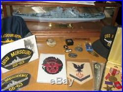 Franklin Mint USS Missouri BB-63 WW2 Battleship Model / Memorabilia medals, hat