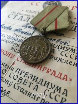 Genuine! Rare Ww2 Russian Soviet Medal Defense Of Stalingrad + Document