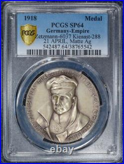 German Imperial Medal World War One Ace the Red Baron 1918 Ag Matte PCGS SP64