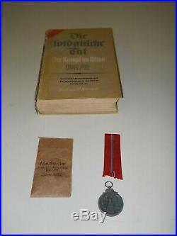 German WW2 Grouping Original Ostfront Medal with Assoc. Rare German Lang. Book
