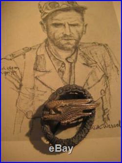 German WW II air borne medal air force 1943 stamp Osang back rare original badge