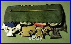 German Ww I/ww II Medal Bar, 4 Medals, Ww I Ic, War Merit, Hindenburg, Ln Svc