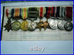 Great War WW1 & India GSM Waziristan & WW2 medal group Sgt W Turner RA RGA IAOC