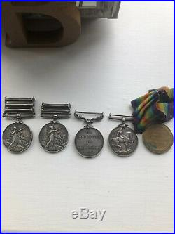 Group of 5 Medals QSA + 3 Clasps, KSA 2 Clasps, LSGC & WW1 Pair Loyal North Lanc