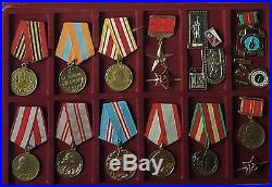 HUGE WW2 SOVIET MEDAL COLLECTION RARE AWARDS 34 MEDALS PLUS BADGES With CASES