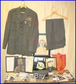 Lot Named WW2 World War 2 Korea USMC Uniform Medals Photos Paper Album Hollywood
