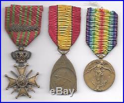 Lot Of 3 Belgium World War I Medals (be 411)