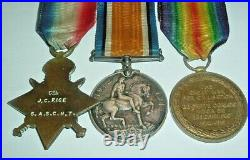 MEDALS-ORIGINAL WW1 1914-15 DELVILLE WOOD TRIO 4th SOUTH AFRICAN SCOTTISH