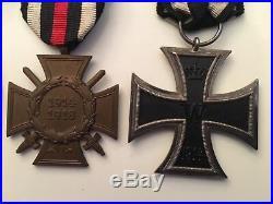 MEDAL WW1 GERMAN GROUP OF 4 EK2 + CROSS of HONOUR + WOUND + BUTTONHOLE DEVICE