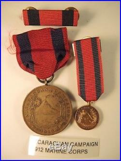 Marine Corps Nicaraguan campaign medal #611 to Kennedy ribbon bar miniature WW I