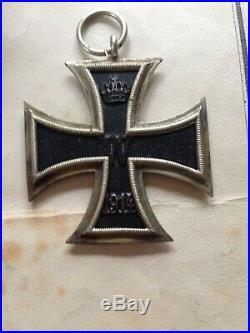 Medal German Ww1 Iron Cross 2nd Class Cased & Award Certificate Gftr Anton Eiser