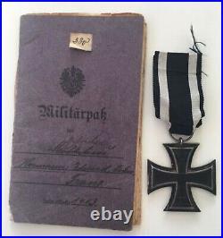 Medal Ww1 German Group Ek2 + Militarpass Musketier Franz Hermann