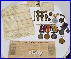Military Medal lot with military buttons and paperwork WW1-WW2