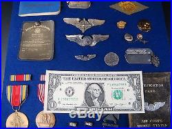 Named Ww2 Us Medals Silver Wing Pins Army Air Corps Transport Command Flight Log
