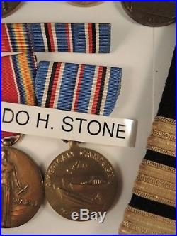 Navy group to Commander Waldo Stone WW I victory Haitian 1915 #758 WW II medals