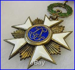 ORIGINAL WW1 Vintage BELGIAN ORDER of the CROWN BELGIUM MEDAL AWARD NECK CROSS