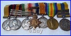 Original 7 British Medals & Ribbons & 8 Clasps Sudan, Boer War & WW1- A. Bennett