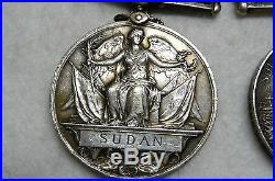 Original 7 British Medals & Ribbons & 8 Clasps Sudan, Boer War & WW1