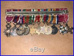 Original British WW1 & WW2 11 Place Miniature Medal Bar-North Africa, Italy