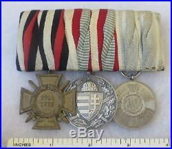 Original German Ww1 3 Medal Bar, Hindenburg Cross, Hungarian Service, Bavaria IX